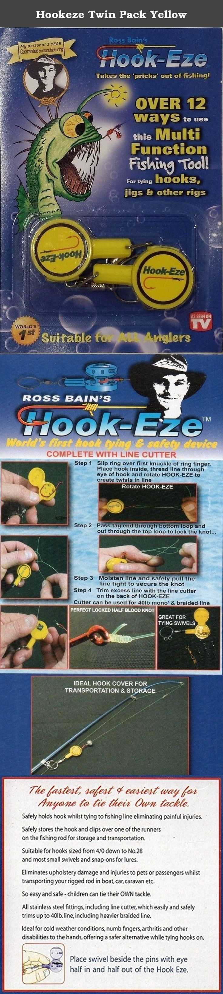Hookeze Twin Pack Yellow. Ross invented Hook-Eze, a nifty little gadget that makes tying fishing hooks onto the line not only safer, but a whole lot easier.The barbs of the fishing hook are protected in the case, while a spinning ring on your finger makes twisting the line a breeze. Hook-Eze is suitable for standard fishing hooks sized from 4/0 down to No.28 or circle hooks 3/0 or smaller. selected flies, swivels, snap-ons & speed clips for lure fishing. It's great for tying line to line…