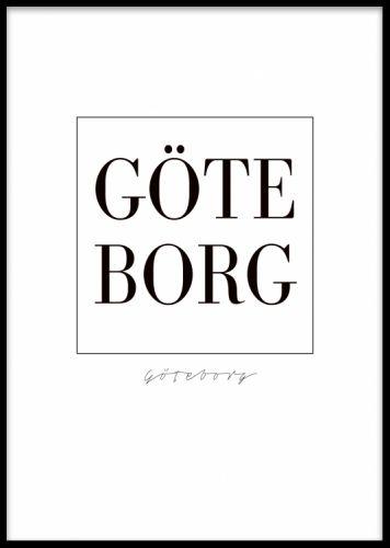 Göteborg poster. Göteborg texttavla. Poster med texten Göteborg i stora bokstäver. Den här stilrena postern med sveriges framsida är lika enkel som snygg!