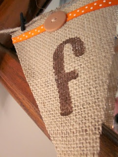 burlap bunting - stencil letters.  Put a second triangle behind burlap triangle with fun, patterned fabric.