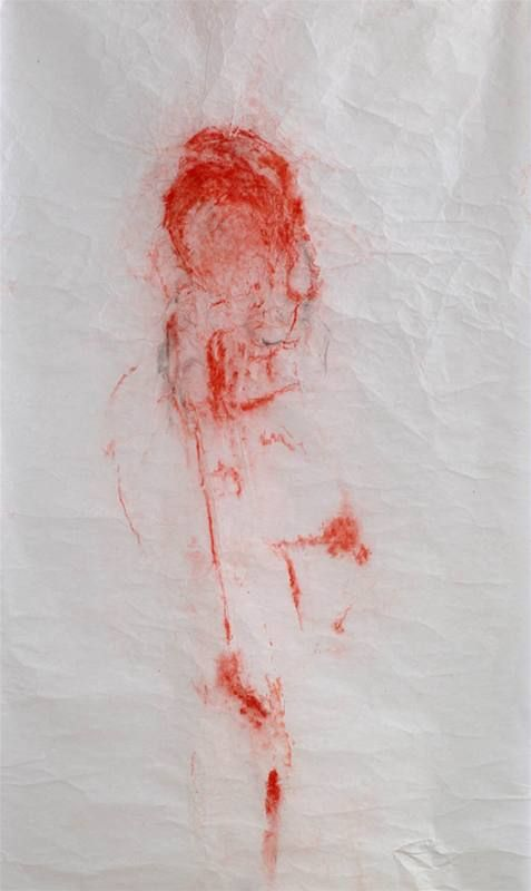 Adriena Šimotová | Host/Guest (II), 2005 | pigment, pastel, Chinese hand-made paper, 200×97,5 cm