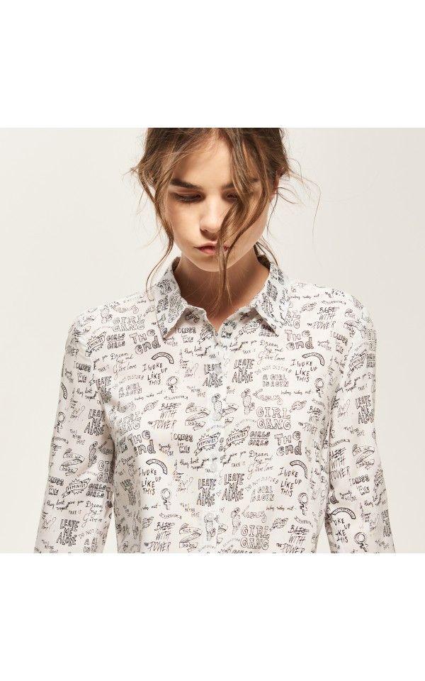 Vzorovaná košile, Košile, krémová, RESERVED