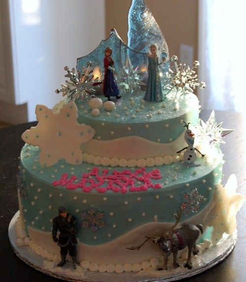 disney frozen cakes | Disney's Frozen Themed Happy Birthday Cake - Sweet Blessings...