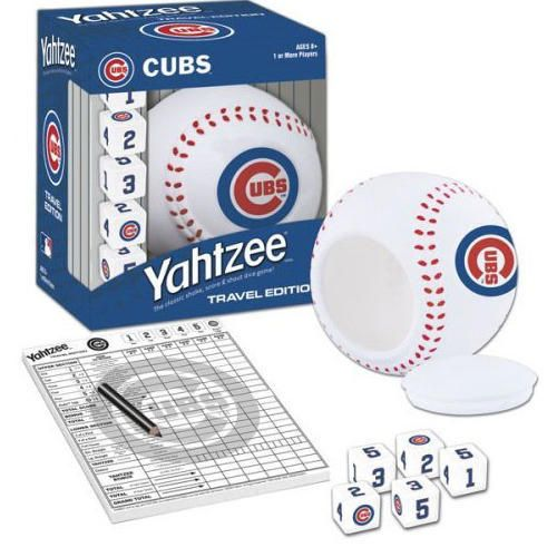 It's the only game where family and friends can enjoy classic YAHTZEE game play with a special Cubs twist. The travel-sized game includes a Cubs baseball dice cup with lid that stores five custom dice featuring authentic Cubs jersey numbers and the Cubs logo.  http://www.calendars.com/Chicago-Cubs/Chicago-Cubs-Yahtzee-Travel-Game/prod1289101/?categoryId=cat00420=cat00420