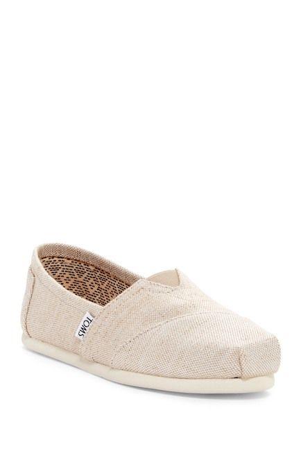 Image of TOMS Classic Alpargata Metallic Burlap Slip-On Shoe    size 5