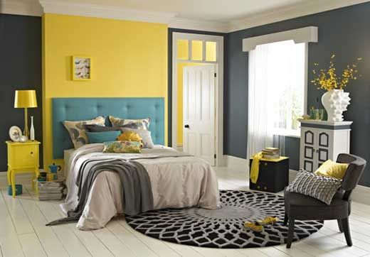Bright Bedroom Color Scheme Interior Design and Decoration.....I'm soo in love with gray and yellow right now