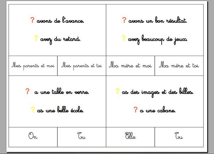 exercices autocorrectifs de conjugaison : trouver le bon sujet ! - La classe d'Eowin