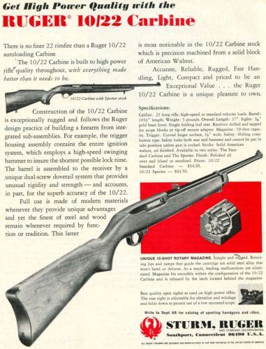 1970-Print-Ad-of-Sturm-Ruger-10-22-Sporter-Carbine-Rifle-w-Rotary-Magazine