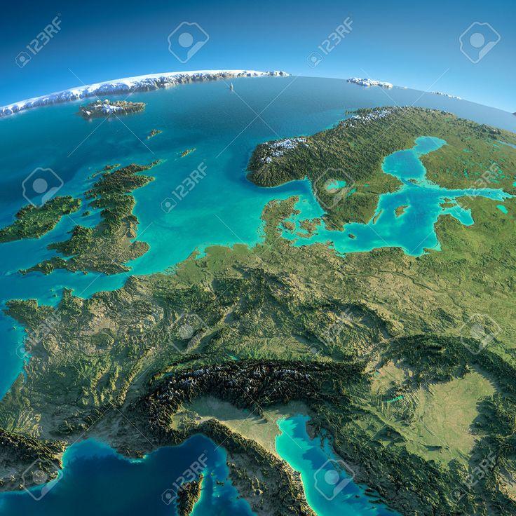 Zeer gedetailleerde planeet Aarde in de ochtend Overdreven precieze verlichting verlicht ochtendzon Gedetailleerde Aarde Midden-Europa