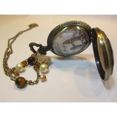 Collar Reloj Tower Bridge Londres Vintage Reloj de Bolsillo