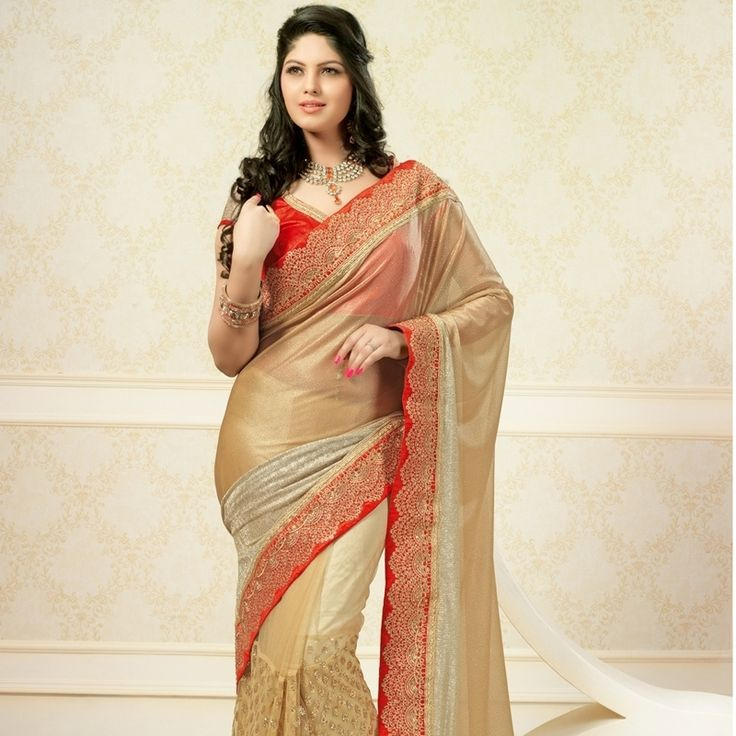 Shop Groovy Licra Glitter Designer Saree in Faun With Red Colour.