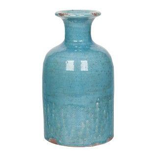 Handmade vaas van terracota. Geglazuurd, verweerde look, blauw. Afmeting Ø 15 en h 29 cm. €34.95