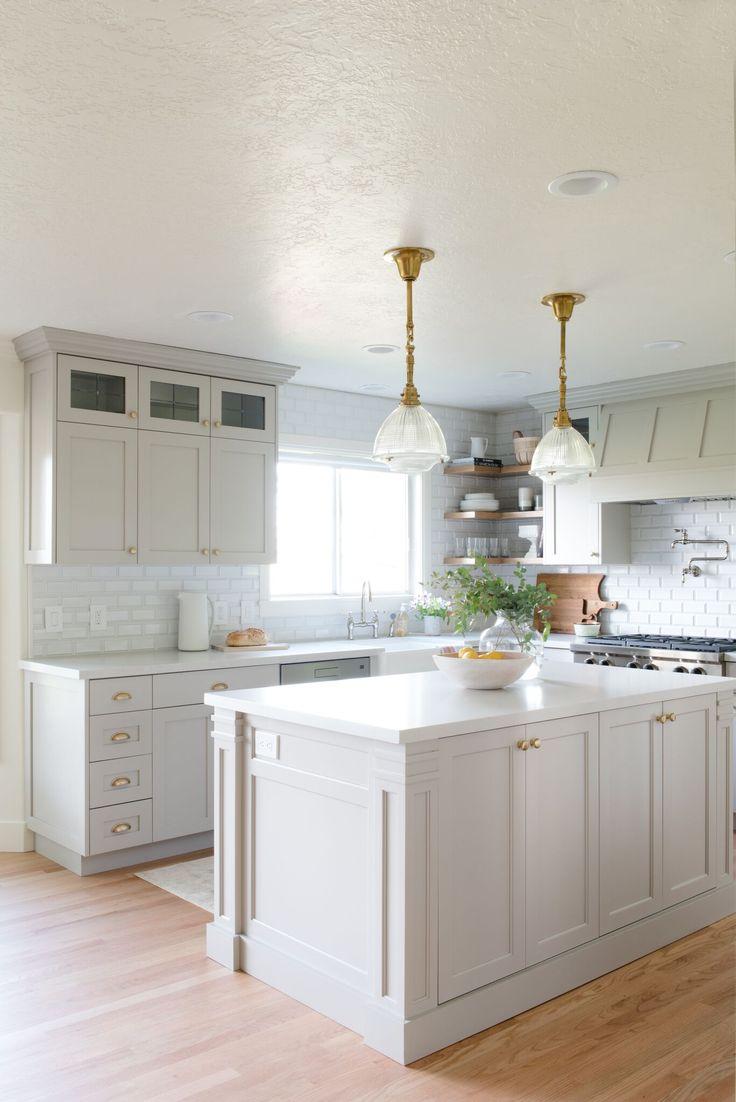 StudioMcGee-leaded glass upper cabinets; beveled backsplash tiles