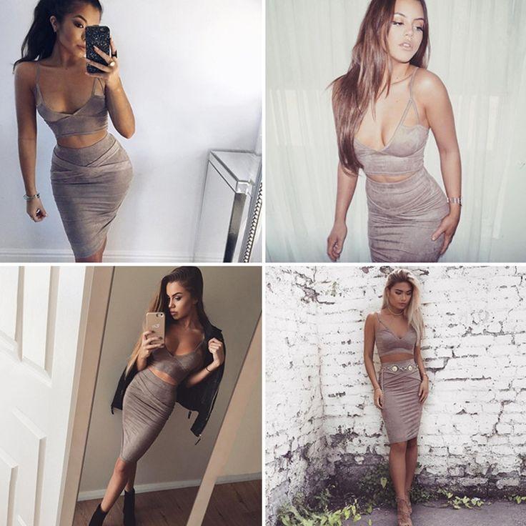2016 женщин сексуального бархата платье 2 двухкусочных бандажных платья набор партия платья-футляр нарядов Sexy Crop Top Ladies Двухкусочного костюм