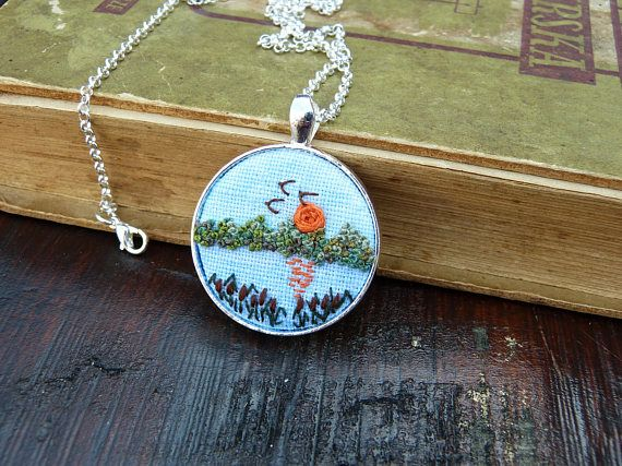 Hand embroidery landscape necklace  embroidered pendant