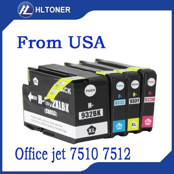 4pcs 932XL hp 933XL compatible Ink Cartridge hp Office jet 7510 7512
