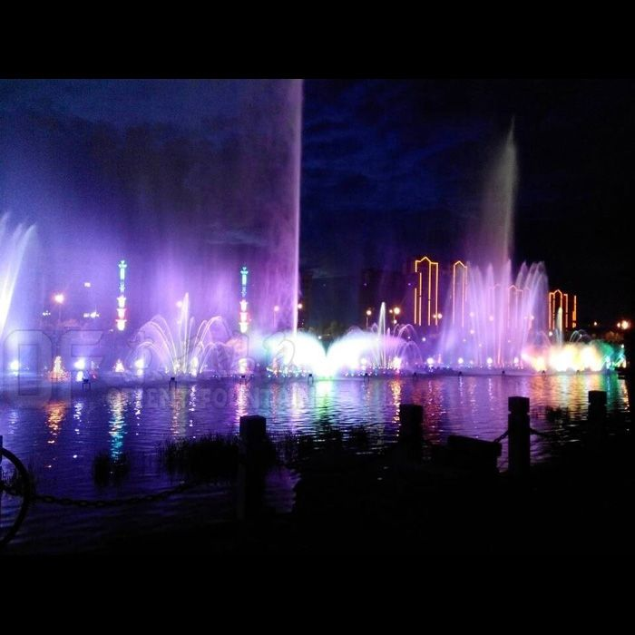Music dancing fountain in lake