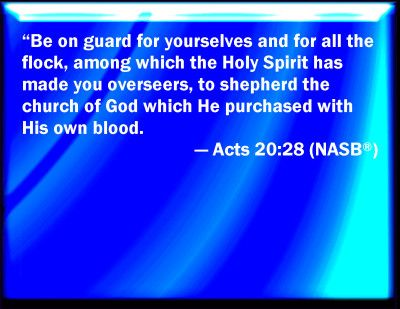 The Church was Obtained Through Gods Own Blood [Acts 20:28]. More at www.agodman.com