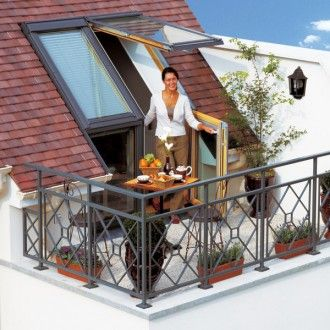 VELUX roof balcony wood / pine painted white ENERGIE PLUS