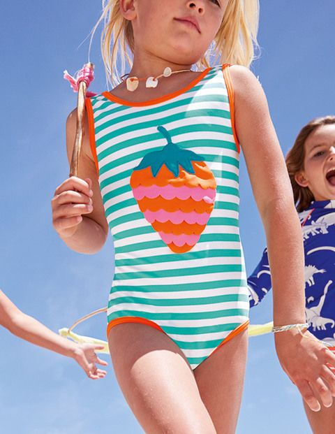 Make a splash with these colourful swimming costumes, featuring eye-catching appliqué details. Take a dip with the friendly whale or a mermaid with a fluttering tail, or choose a bright rainbow, juicy strawberry or 3D flowers.