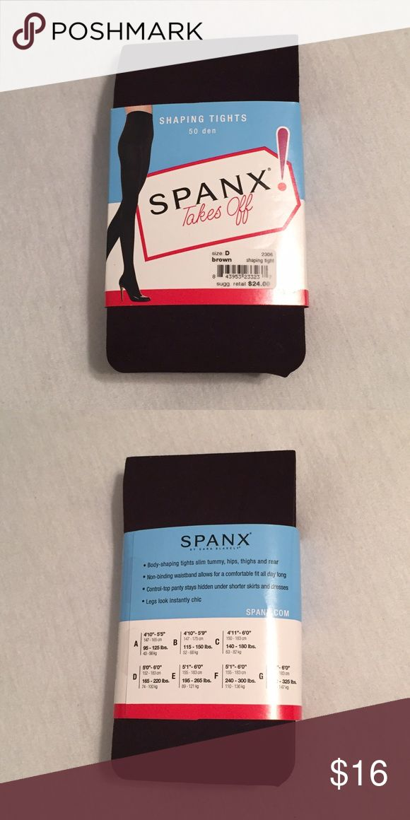 "Spanx Shaping Tights Brand new brown Spanx, still in original packaging. Size D:  5'0""-6'0""  (152-183cm)  165-220 lbs. (74-100kg)  🚫I don't accept trades, sorry! 🚫I also don't accept PayPal. ✅I do welcome offers as long as they are reasonable. ✅I offer a bundle discount!   All of my items come from a smoke-free home. Feel free to ask me any questions you may have about my closet, its items, or Poshmark as a whole. SPANX Accessories Hosiery & Socks"