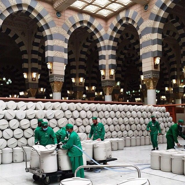 Filling up the Zamzam drums inside special area in Masjid Al Nabawy, Madinah