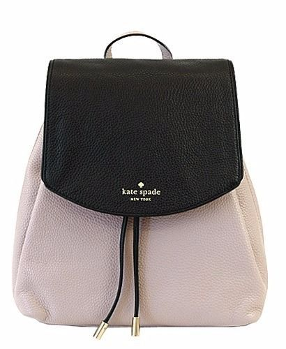 KATE SPADE Mulberry St SMALL BREEZY Backpack Mousse Frosting Black LEATHER ~ NWT #katespade #BackpackStyle