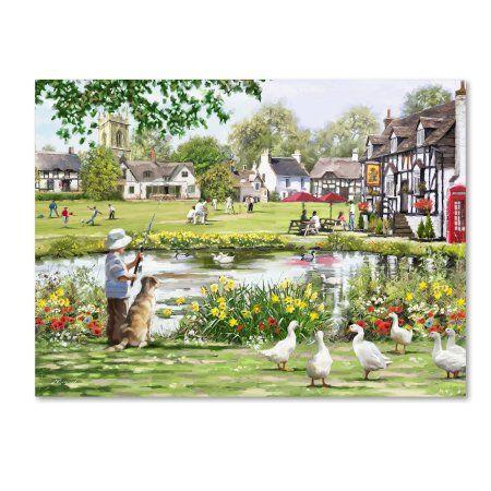 Trademark Fine Art 'Village Green' Canvas Art by The Macneil Studio, Size: 24 x 32, Green