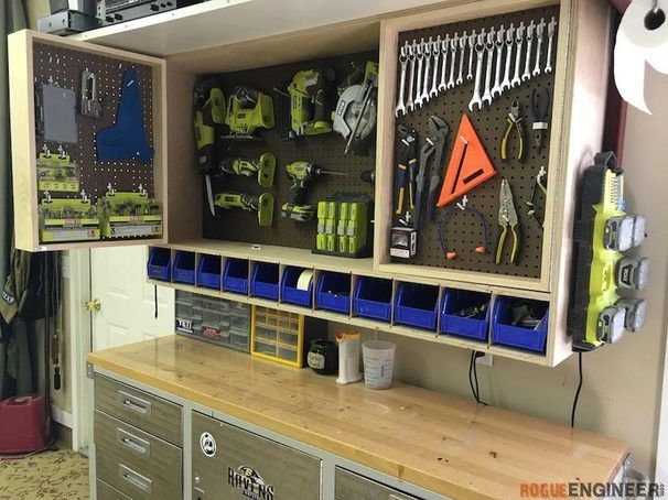 """Fold out space-saving tool storage cabinet, from Ryobi's website. I'm going to adjust this design to include a 28"""" TV and wall mount."""