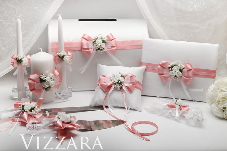 Wedding card box Pink wedding Guests books Pink and white wedding Toasting flutes Wedding cake servers set Unity candles Wedding ring pillow