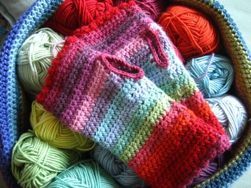 Such pretty colors on crochet mitts!