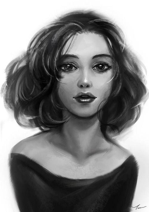 Girl-Short Hair Sketch  Portraits  Figures  Art -7464