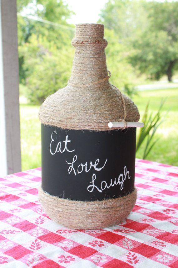 Chalkboard painted wine bottle. Decorative wine bottle. Twine covered wine bottle. Table center piece.