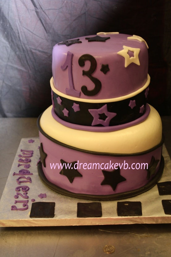 This is a two-tiered cake, covered in homemade marshmallow fondant HAPPY 13 TH BIRTHDAY # CAKE 13 #STARS