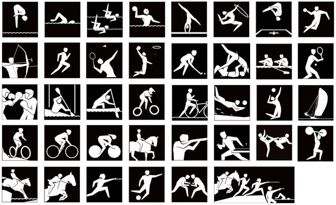 2012 Summer Olympics Pictograms - Print 2 pages and cut up for an Olympic-themed memory/matching game