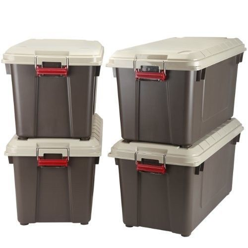 Large Plastic Storage Containers Brown Organizer Stackable Tote Box With Lid New #LargePlasticStorageContainers