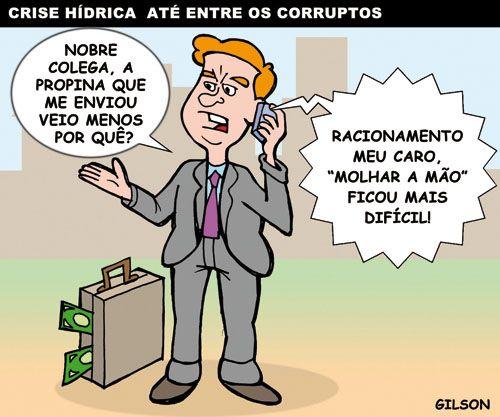 Molhar a mão de político - Crise Hídrica na corrupção