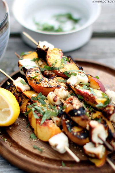 Grilled Halloumi and Peaches with Dukka