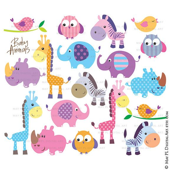 Safari Jungle Animal Clip Art Baby Zoo Animals por MayPLDigitalArt