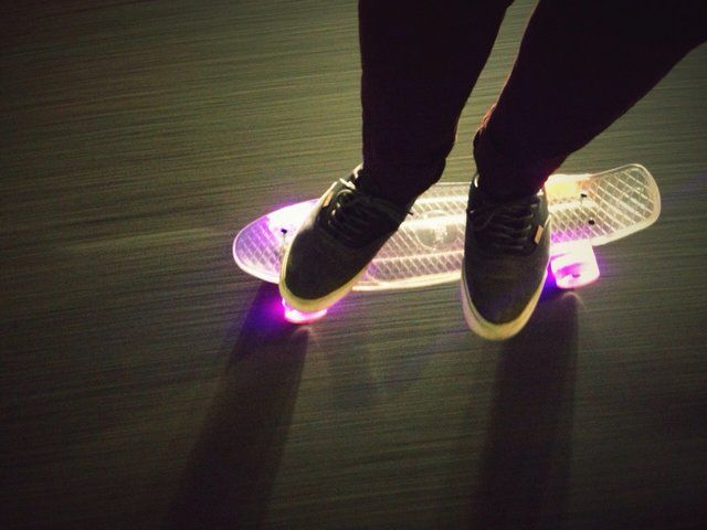 """The LED Cruiser by Snitto takes boarding to another level. Featuring their secret plastic & LED formula, this 22"""" LED Cruiser is matched with Custom 3"""" Snitto trucks, 59mm 78A super smooth Snitto wheels, and Snitto bearings. Please note, riding this skateboard may result in overwhelming radness."""