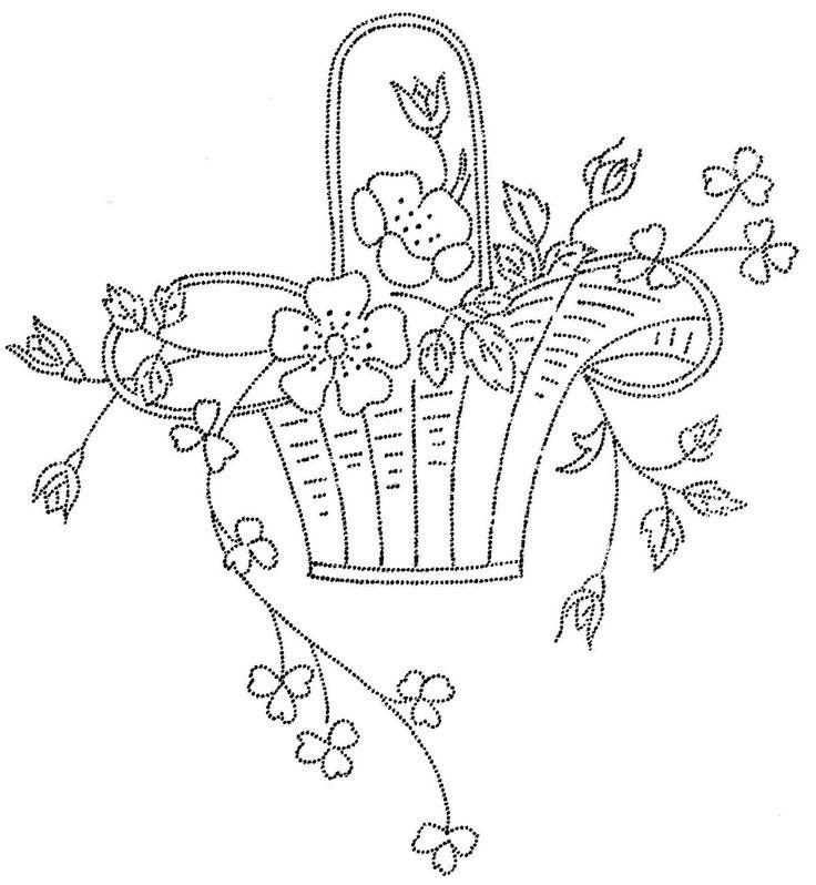embroidery basket of flowers   flower basket 4