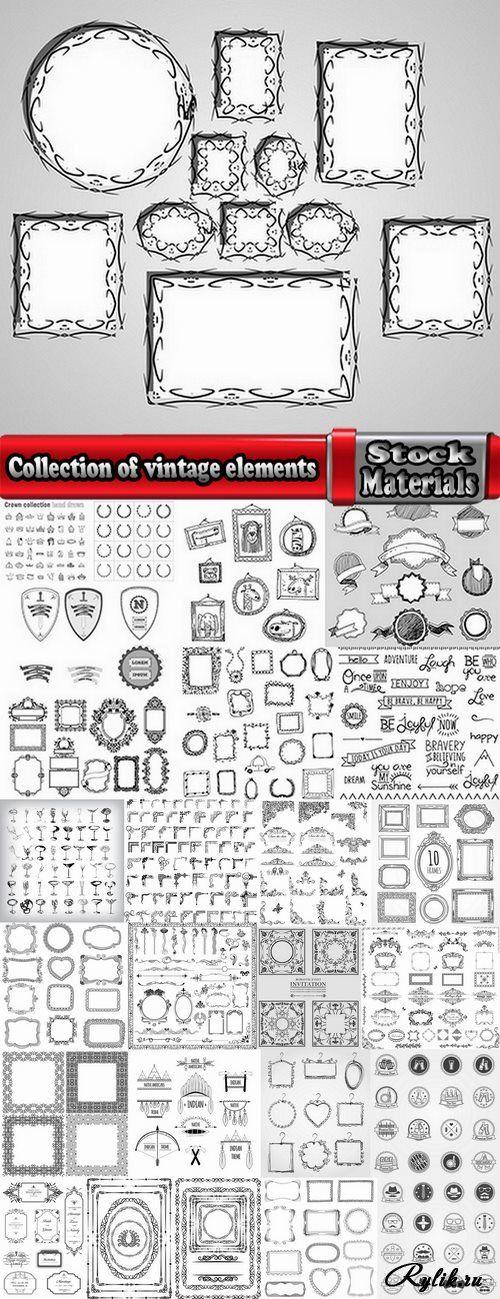 Векторные рамки, уголки, ленты, декоративные элементы