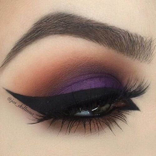Smokey Purple & Brown Eye Makeup With Winged Eyeliner & Long Lashes