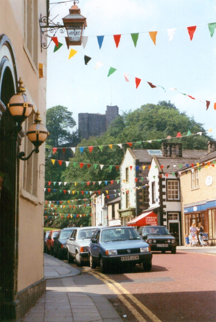 Clitheroe high street with the castle in the background.