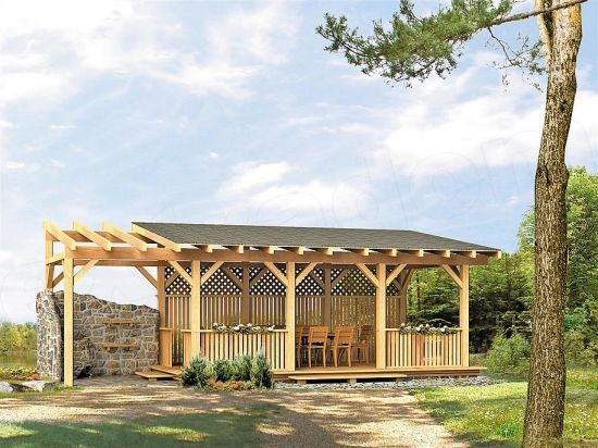 Pergola din lemn cu acoperis si pereti