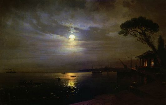 Russian-Armenian painter Ivan Konstantinovich Aivazovsky Moonlight night. 1888