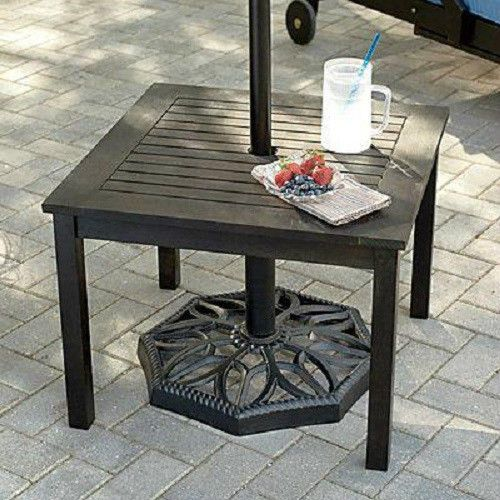 outdoor eucalyptus wood side end table w umbrella hole patio deck poo. Black Bedroom Furniture Sets. Home Design Ideas