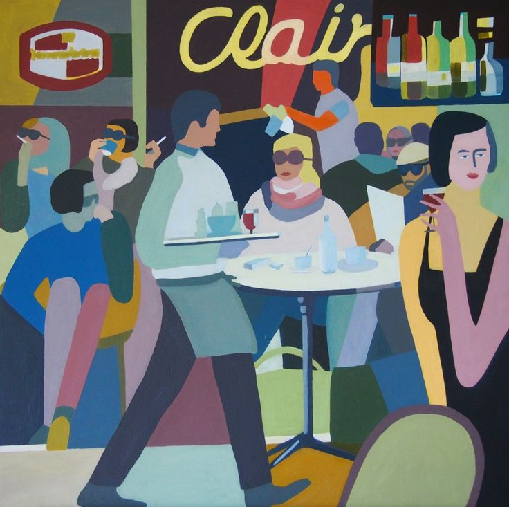 Cafe scene - oil on canvas.