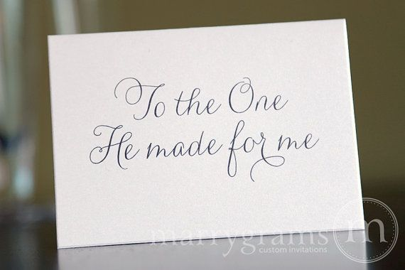 Wedding Card to Your Bride or Groom - To the One He Made for Me - Christian, Religious // This simple, adorable note card is made with high quality white shimmer cardstock and is perfect for leaving a special message to your bride or groom on your wedding day. Also makes for a cute Valentine's day or Anniversary card! #marrygrams