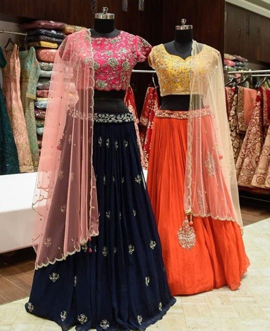 da168acdfd Beautiful Silk Lehenga-Choli. Embellished with hand embroidery work and  paired with net dupatta. Great charming color combination with simple  embroidery ...