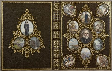 Cosway Bindings are traditional leather bindings are adorned with beautifully inset miniature portraits in the covers. The bindings are named for the portrait painter Richard Cosway. This copy of Evangeline by Longfellow – is an extraordinarily gorgeous example with portraits set into the back cover as well as the front. For sale at the tidy sum of $91,800, this one is a smidge out of my price range, but I sure what love to hold it in my hands and look through it.